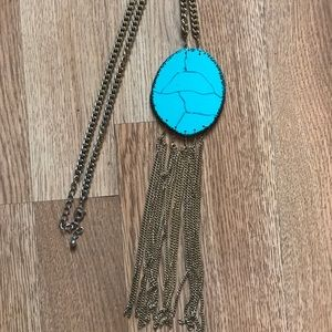 Jewelry - Gold and turquoise long boho Necklace